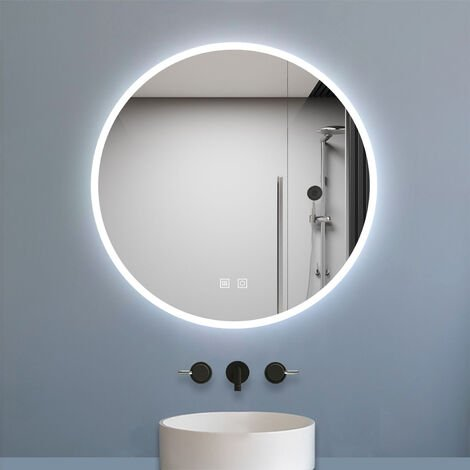 """main image of """"600x600mm Round Bathroom Mirror with LED Lights 600mm, Large Frameless Dimmable Makeup Mirror Wall Mounted, Anit-Fog Dual Touch Backlight Illuminated"""""""