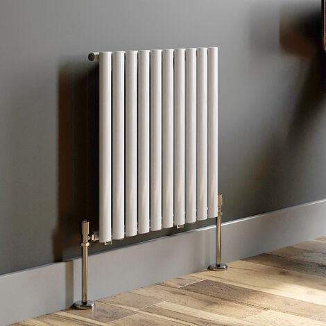 600x600mm White Modern Designer Radiator Horizontal Oval Column Single Panel Rad