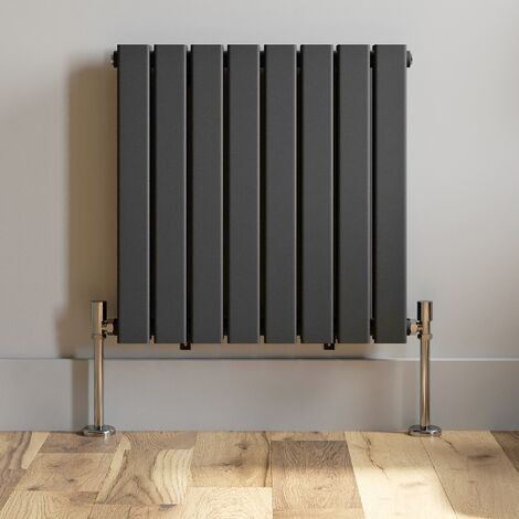 600x608mm Anthracite Designer Radiator Horizontal Flat Panel Double Panel Rad