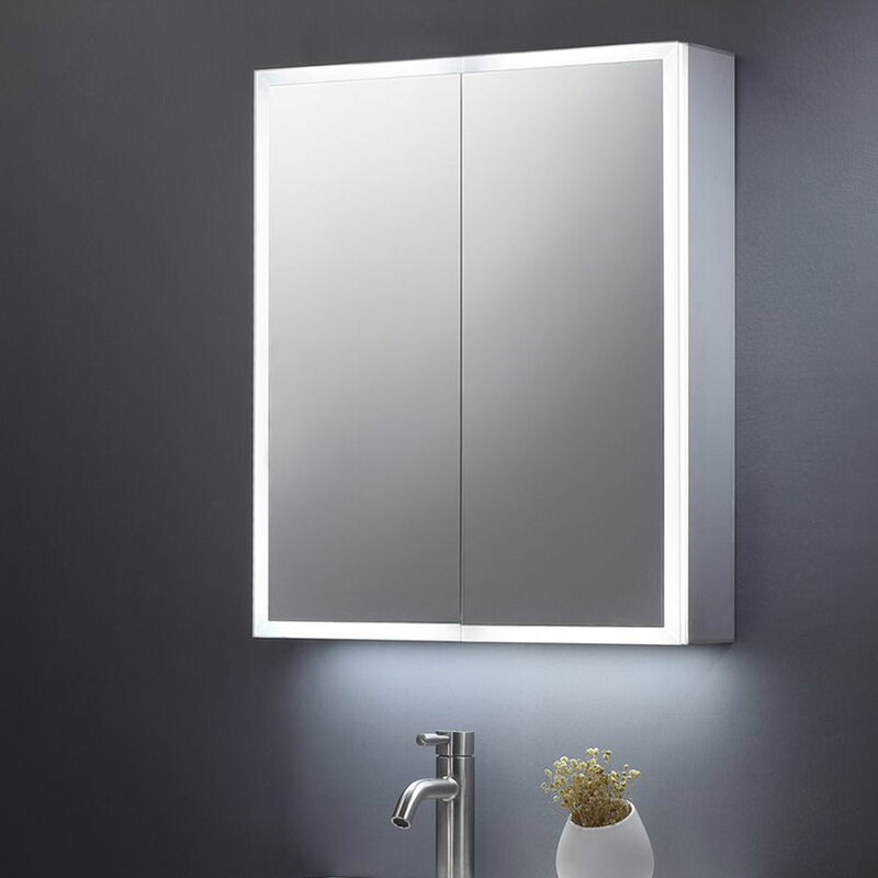 Image of 600x700 BETHANY DOUBLE DOOR MIRROR CABINET LED SURROUND W. SENSOR SWITCH & SHAVE SOCKET