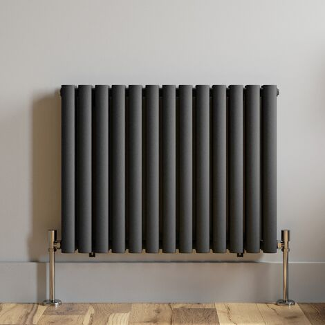 600x780mm Anthracite Designer Radiator Horizontal Oval Column Double Panel Rad
