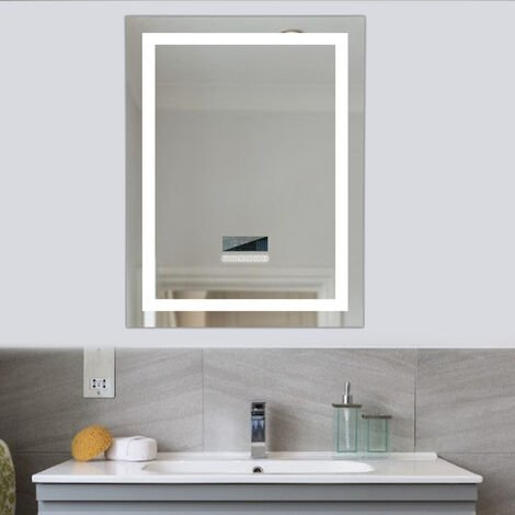 600x800MM Bathroom Wall Mirror With Dimmable Bluetooth Speakers Illuminated Touch Control