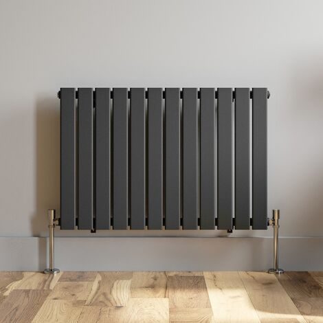 600x908mm Anthracite Designer Radiator Horizontal Flat Panel Single Panel Rad