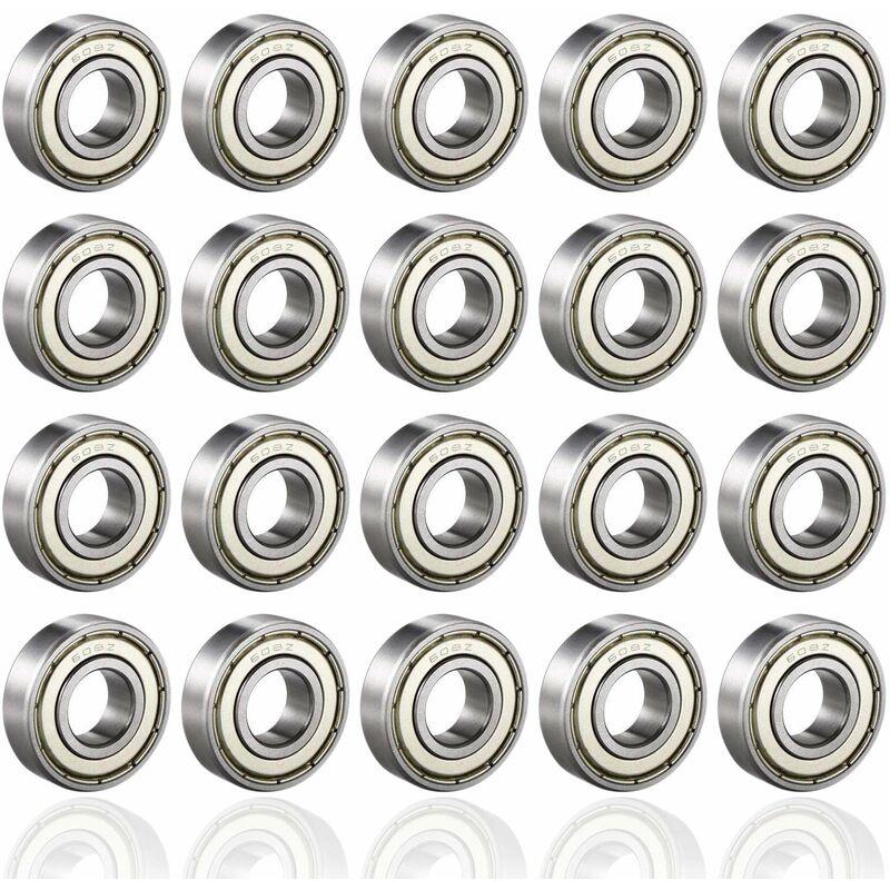 608ZZ Rodamientos de bolas, ABEC 7, 20 piezas Rodamientos de velocidad Rodamientos de bolas de calidad para rodillo, monopatín, longboard, waveboard,