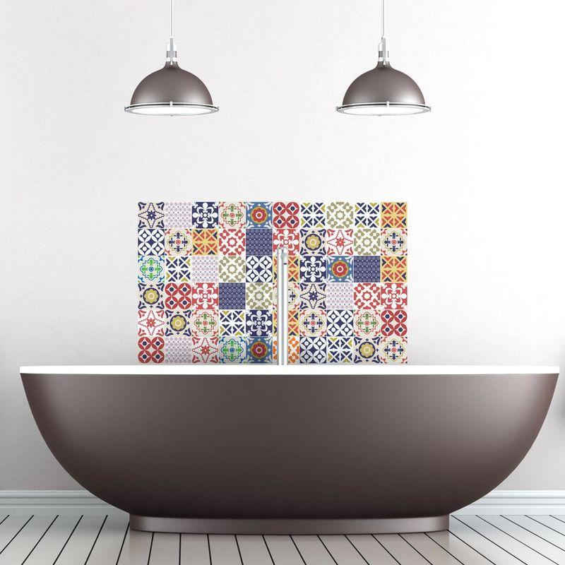 60 adesivi adesivi piastrelle | Adesivo Piastrelle – Mosaico Piastrelle a  Parete Bagno e Cucina | Piastrelle Adesivo – Vintage multicolore – 10 x 10  ...