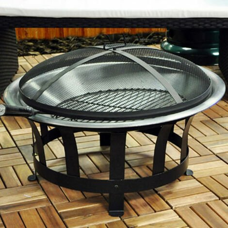 60cm Garden Fire Pit Bowl with Barbecue / BBQ Grill and Mesh Lid
