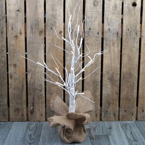 60cm LED Birch Effect Tree (One Size) (White)