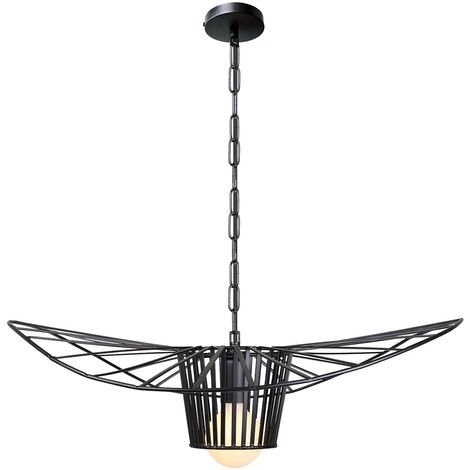 60cm Retro Straw Hat Chandelier Hat en Forma de Lámpara de Techo Dormitorio Industrial Light Cafe Loft Bar E27 Negro