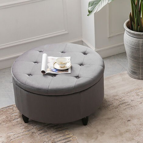 60CM Round Velvet Storage Footstool
