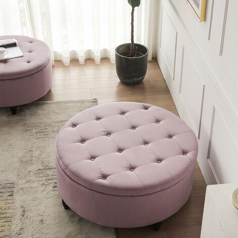 "main image of ""60CM Round Velvet Storage Footstool"""