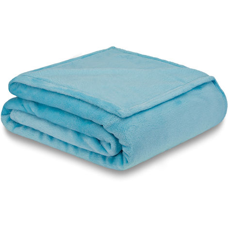 60cm Sofa cover Blanket Bedspread Cuddly blanket Living blanket Fleece blanket 200x150 Blue