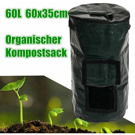 60L Covered Organic Composter Waste Converter Bins Compost Storage Garden Supply WASHING