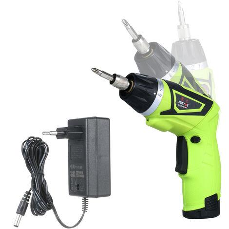 6.0N.m inalambrico destornillador electrico recargable 7.2 1500mAh Li-ion 7 de par Ajuste 2 posicion de la manija con luz LED con 6 Accesorios 1/4 pulgadas de liberacion rapida Chuck, verde, Plug 1 juego de baterias de la UE