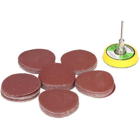 """60PCS 50mm 2 """"Disco de lijadora, papel de grano 100-2000, con placa de almohadilla de pulido abrasivo de 2 pulgadas"""