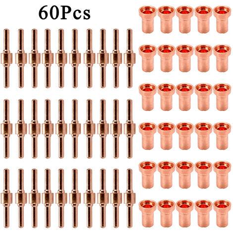 60PCS cobre rojo Extended largo cortador de plasma punta del electrodo consumible Kit Boquilla Para PT31 L-G40 40A de corte