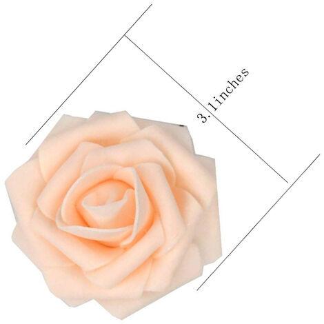 60pcs Roses Artificielles Fleurs Réel Regardant Faux Roses Mousse Artificielle Roses Décoration DIY pour Bouquets De Mariage Centres de Table, Arrangements Party Baby Shower Décorations pour la Maison (Champagne)