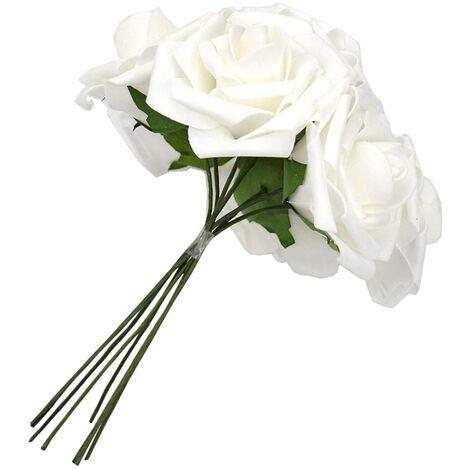 60pcs Roses Artificielles Fleurs Réelles À La Recherche De Faux Roses Roses En Mousse Artificielle Décoration DIY pour Bouquets De Mariage Centres De Table, Arrangements Party Baby Shower Décorations À La Maison (Blanc)