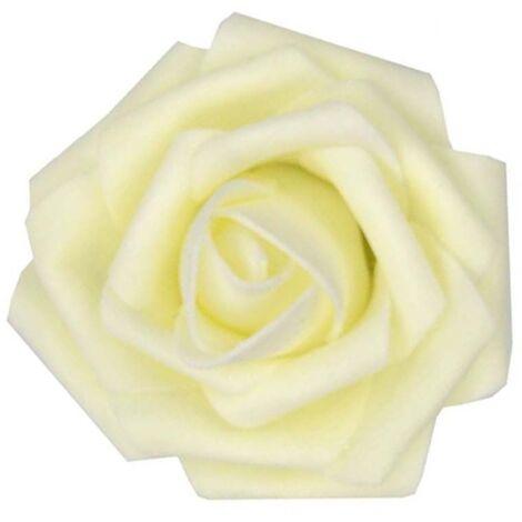 60pcs Roses Artificielles Fleurs Réelles À La Recherche De Faux Roses Roses En Mousse Artificielle Décoration DIY pour Bouquets De Mariage Centres De Table, Arrangements Party Baby Shower Décorations Pour La Maison (Blanc Crème)