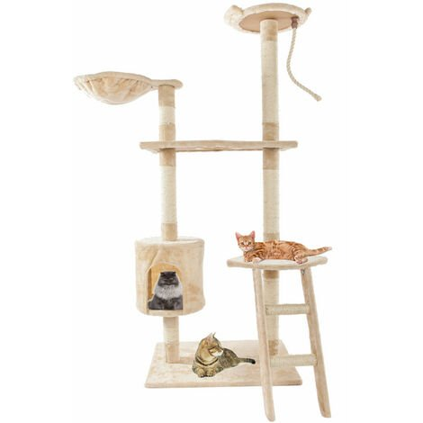 "60""Solid Cute Sisal Rope Plush Cat Climb Tree Cat Tower Beige"