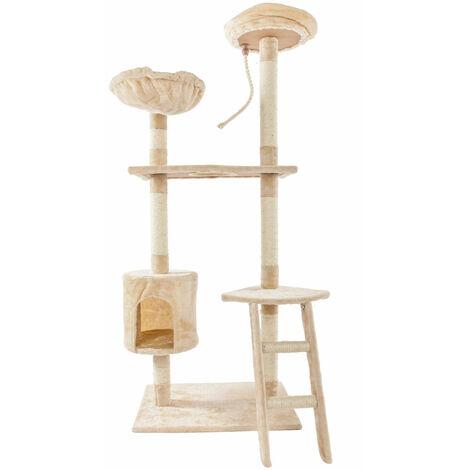 "main image of ""60""Solid Cute Sisal Rope Plush Cat Climb Tree Cat Tower Beige"""