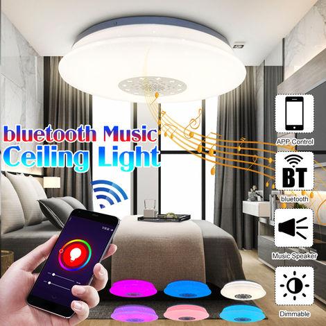 60W 220V Bluetooth LED Luz de techo con altavoz Bluetooth 220V RGB Regulable Música Smart LED Luces de techo para cocina Baño Comedor Control Control de aplicaciones)