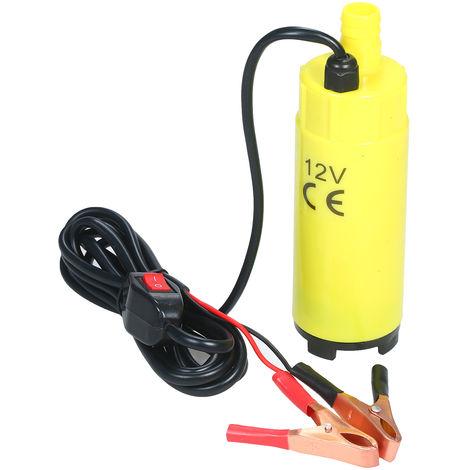 60W Portable Pompe Electrique Submersible Pompe De Transfert De Carburant Avec Sortie Taille Du Filtre 19Mm 2 Aligator Pinces Pour Le Pompage De L'Eau Gasoil Petrole, 12V