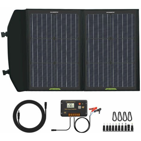 60W Watt Foldable Solar Panel Charger & 20A PWM Controller for Portable Generator,Battery