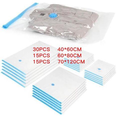 60x Sac de rangement sous vide 3 tailles 30 pièce(40 * 60) 15 pièce(60 * 80) 15 pièce(70 * 120)