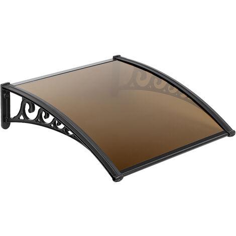 60x100cm Marquesina para puerta Toldo para terrazas | Toldo Ventana| - para blanca Lluvia Nieve Cubierta frontal Porche Exterior Sombra Techo Terraza marrón