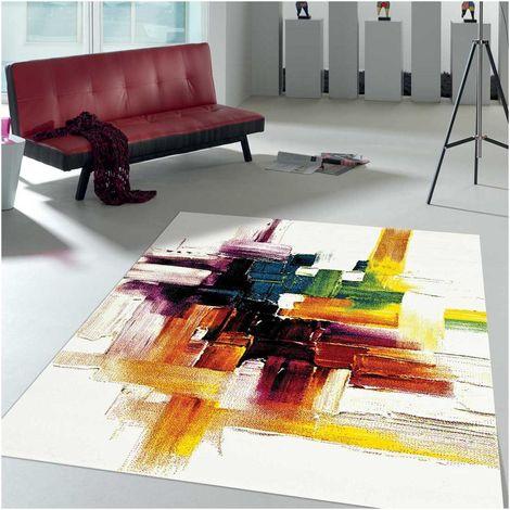 60x110 - UN AMOUR DE TAPIS - BELO 3 - - Tapis Moderne Design tapis Salon et entrée - Créme, jaune, noir, gris - Couleurs et Tailles disponibles