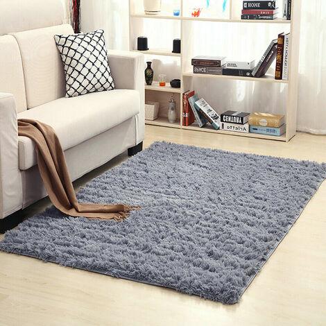 60x120cm doux shaggy moelleux tapis anti-dérapant salon tapis maison tapis de sol (gris, 60x120cm)
