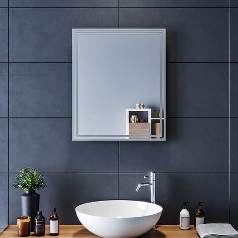 60x50 CM 17W Miroir de salle de bains avec éclairage LED Miroir Cosmétiques Mural Lumière Illumination avec Commande par Effleurement ELEGANT
