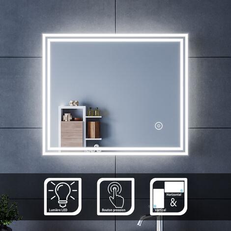 60x50 CM Miroir de salle de bains avec éclairage LED Miroir Cosmétiques Mural Lumière Illumination avec Commande par Effleurement SIRHONA