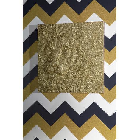 60x60cm Gold Glitter Lion 004303