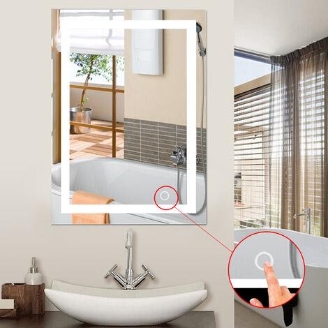 60x80cm LED Miroir de Salle de Bain Mural Blanc Froid 6500K Commutateur Tactile Haute Qualité