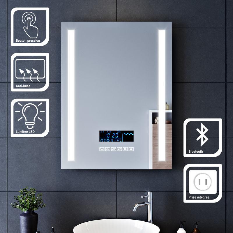 60x80cm Miroir Lumineux Pour Salle De Bains A Led Avec Eclairage Tactile Miroirs De Maquillage Et De Rasage Avec Anti Buee Fonction D Horloge