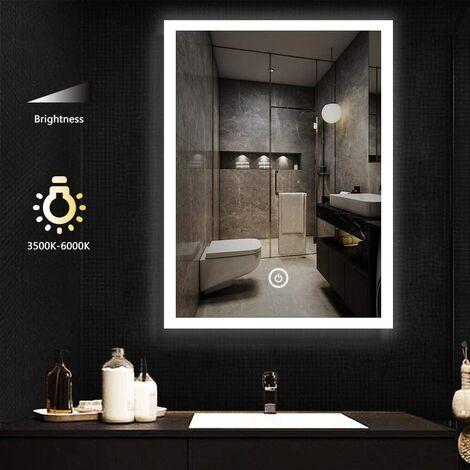 60x80cm Miroir Salle de Bain avec Eclairage LED, Miroir Mural Cosmétique Lumineux avec Interrupteur Tactile