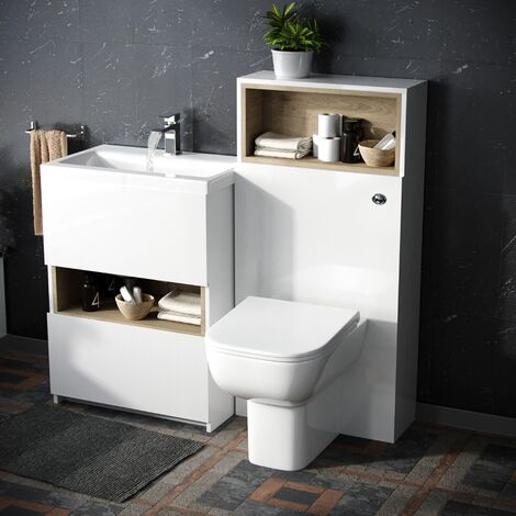 610 mm White Vanity Cabinet and WC BTW Toilet Unit