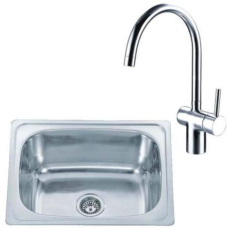 610 x 510 Stainless Inset Kitchen Sink Bowl & Tuscany Chrome Mixer Tap (KST120)