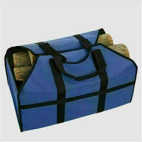 61×29×42cm Toile Sac à bûche Cheminée Sac de chauffage Imperméable Transporteur de bois extérieur rangement,bleu