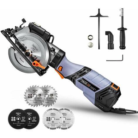 """6.2A TACKLIFE Premium, mini scie circulaire électrique avec 6 vitesses variables, 6 lames (5 """"et 4-1/2""""), poignée en métal unique, moteur en cuivre pur, guide laser, cordon de 10 pieds, petite scie circulaire - TCS115E"""