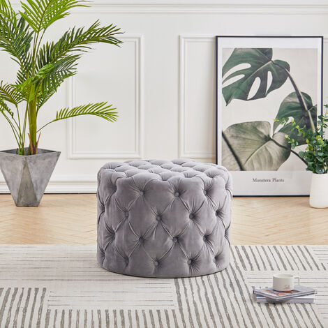 62CM Round Frosted Velvet Buttoned Footstool