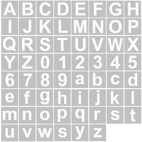 62Pcs 4 Pouces Lettre Et Numero Pochoirs Reutilisable Lavable Alphabet Pochoirs Respectueux De L'Environnement Pet Art Artisanat Modeles Pour La Peinture Sur Bois Tissu Mural Porte Decor Maison Signe