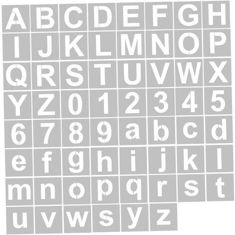 62Pcs 5 Pouces Lettre Et Numero Pochoirs Reutilisable Lavable Alphabet Pochoirs Respectueux De L'Environnement Pet Art Artisanat Modeles Pour La Peinture Sur Bois Tissu Mural Porte Decor Maison Signe