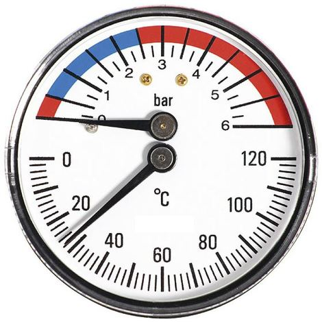 "63mm 0-6bar 0-120C Thermo Pressure Gauge 1/2"" BSP Rear Entry Manometer"