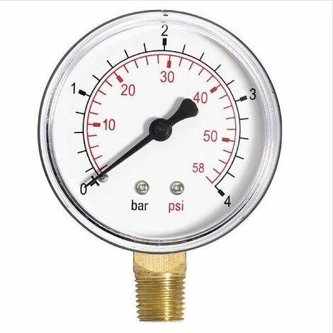 """63mm 2,5bar manomètre air huile ou eau 1/4 """"bspt côté entrée manomètre"""