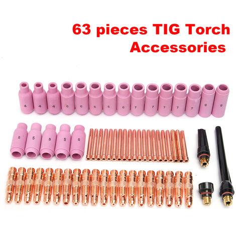 63PCS Soudage Soudure Souder Collet BUSE Céramique Pr TIG WP17 18 26 Torche