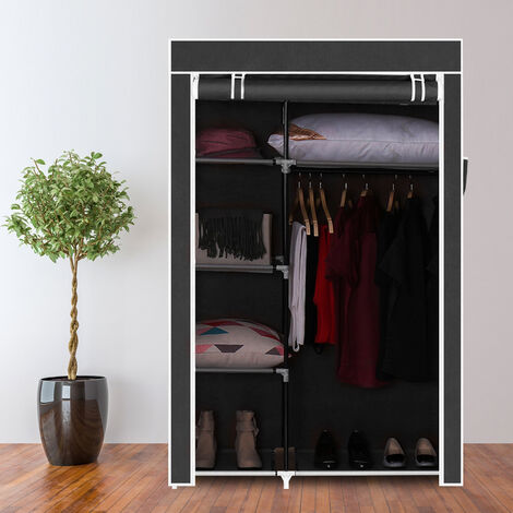 "64"" Portable Closet Storage Organizer Wardrobe Clothes Rack with Shelves Black QWGT509BK"