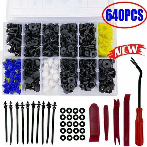 640 pièces Clips de garniture de carrosserie de voiture Rivets de pare-chocs de retenue Kit de fixation de pression de panneau de vis