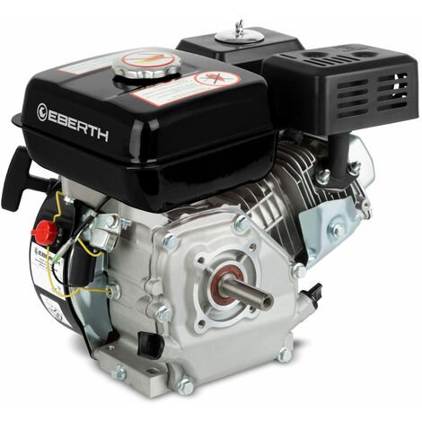 6,5 CV Moteur à essence thermique (20 mm Arbre, Alarme manque dhuile, 4 Temps, 1 Cylindre, Refroidissement à air, Démarrage via câble)